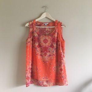CAbi | Orange Floral & Paisley Tank